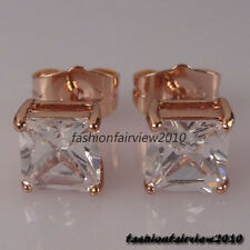 Men 18K Rose Gold GP Swarovski Crystal inlaid one Solitaire Stud Earrings XE027B