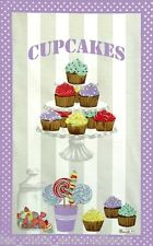 BEAUVILLE, CUPCAKES MAUVE FRENCH KITCHEN / TEA TOWEL, NEW