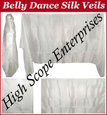 BELLY DANCE WHITE SILK VEIL  RECTANGLE FREE SHIPPING 45 X 108 inch