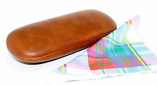 GANT New BROWN LEATHER Eyeglasses HARD CLAM CASE Authentic