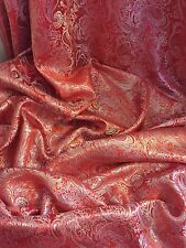 "3 MTR (NEW) PAISLEY RED METALLIC BROCADE JACQUARD FABRIC..58"" WIDE £17.99"