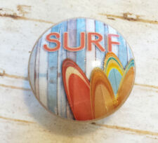 2 Handmade SURF Knobs, Beach Drawer Pulls, Surfing Boards, Retro Style