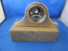 New Vintage Seiko Mickey Mouse Goldtone Quartz Table Clock MIB Works Great! JPN