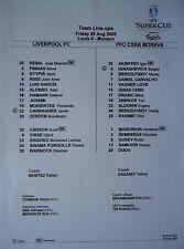 Line-ups UEFA Super Cup 2005 Liverpool FC - CSKA Moskva Moskau