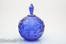 Vintage Colbalt Blue Round Covered Candy Dish