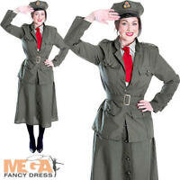 WW1 Army Officer Soldier Ladies Fancy Dress Adult Women Military Uniform Costume