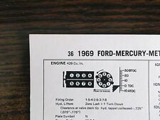 1969 Ford & Mercury & Meteor 360 HP 429 V8 4BBL SUN Tune Up Chart Great Shape!