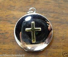 Vintage silver 14k gold TWO TONE ROUND CROSS BOOK LOCKET BRACELET charm #F