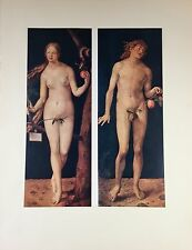 """1955 Vintage Full Color Art Plate """"ADAM AND EVE"""" By DURER Lithograph Lovely"""