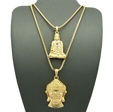 "NEW BUDDHA & BUDDHA FACE PENDANT &24""&30"" BOX CHAIN HIP HOP NECKLACE SET RC1191"