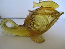 Kemple Amber Glass, Dolphin / Fish Covered Candy