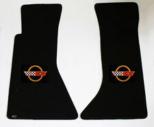 NEW! BLACK FRONT FLOOR MATS 1984-1990 CHEVY CORVETTE C4 Embroidered GOLD Logo