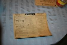 1949 HUDSON EIGHT CYLINDER TUNE UP CHART W/WIRING DIAGRAMS