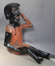 Antique Folk Art African American Automaton Articulated Carved Wood Figure LEWD