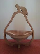 Wood Pear Shaped Collapsible Fruit Basket and Trivet