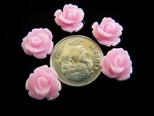 25 pcs Pink Detailed Carved Rose Flower Resin Cabs Cabochons Beads