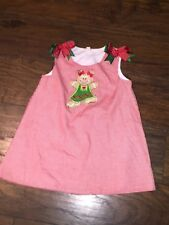 sz 2 Custom made red gingham gingerbread man dress Christmas VGUC