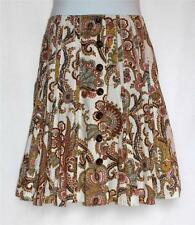 CABI WHITE RED YELLOW PAISLEY FLORAL PLEATED A-LINE SKIRT EUC SZ 2 XXS/XS/S