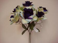 2 Bushes CREAM PURPLE Open Roses 6 Artificial Silk Flowers 14 Bouquet 039A-CRPU