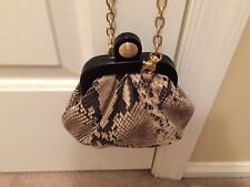 Brahmin Sale Ashlee Framed Snake Skin Emb Leather Cross Body Shoulder Bag Clutch