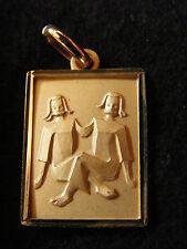 Pendentif Médaillon Signe du Zodiaque en Or Plaqué Gémeaux Rectangle