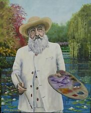 "NEW DON CAMERON ORIGINAL Claude ""Monet in his Garden at Giverny"" Lilies PAINTING"