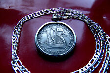 "Portuguese 5 Escudo Sailing Ship Coin Pendant on a 28"" 925 Sterling Silver Chain"