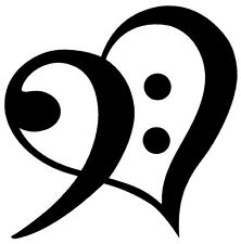 BASS CLEF HEART Vinyl Decal Sticker Car Window Wall Bumper Symbol Love Music