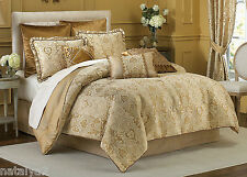 Croscill EXCELSIOR Queen COMFORTER Euro Shams PILLOW 7PC Set $640 Gold Velvet