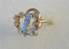 14 K Lady Ring Amor Stars and Hearts Yellow White Rose Solid Gold Size 6.5