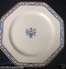 "WOOD & SON ENGLAND STUART LUNCHEON PLATE 8 5/8"" BLUE URN WITH FLOWERS BLUE BAND"