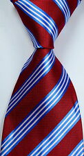 New Classic Striped Red Blue White JACQUARD WOVEN Silk Men's Tie Necktie