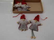 Scandinavian Swedish Danish Norwegian Christmas 4 Santa Gnome Elf Ornaments #902
