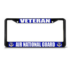 VETERAN AIR NATIONAL GUARD AIR FORCE Black Metal License Plate Frame Border