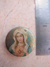 Antique Vintage Virgin Mary Sacred Heart of Jesus Pin Back Button
