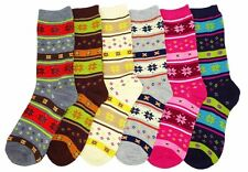 6 Pairs Women Comfort Socks Girls Cozy Winter Long Crew Pack 9-11 Lot
