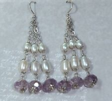 Vintage Sterling Earrings, 8mm Facetted Amethyst, Natural Pearls, Konder #971