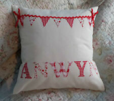 """Personalised 12"""" Cream Calico or Coloured Fabric Cushion Cover Boy Girl"""