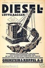 Bagger Orenstein & Koppel Reklame von 1928 Löffelbagger Diesel Berlin O&K Kran