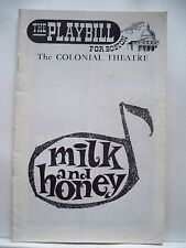 MILK AND HONEY Playbill ROBERT WEEDE / MOLLY PICON /MIMI BENZELL Tryout 1961