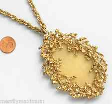 Chico's Signed Necklace Long Gold Tone Fancy Chain & Pendant Yellow Real Shell