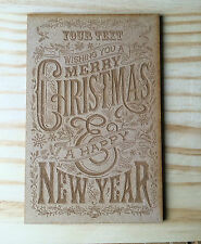 wooden personalised engraved Christmas card; Christmas wishes
