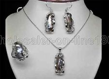 Pretty Natural Black Baroque Pearl Cluster Earrings Necklace Ring Set AAA+