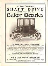 1910 BAKER ELECTRIC  ORIG VINTAGE CAR  AD