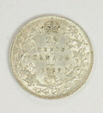 1929 Canadian Silver .25 Cent Quarter Coin