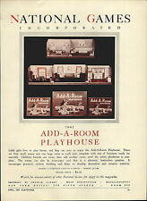 1947 PAPER AD National Games Add A Room Playhouse Doll Furniture