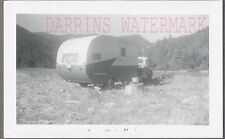 Vintage Photo 1950 GMC Pickup Truck w/ Travel Trailer Camping 752443