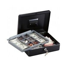 Metal Cash Box Money Safe Tray Drawer Key Lock Steel Coin Compartment Security