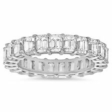 4.36 CT 18K White Gold Emerald Cut Diamond Engagement Ring Eternity Band Size 6