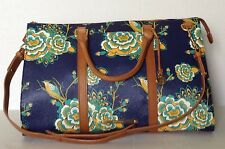 NWT BRAHMIN ANYWHERE WEEKENDER NAVY BELIZE FLORAL LEATHER BAG G96711NV *NEW*
